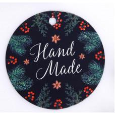 Шильдик на подарок Новый год Hand made 6,5 ×6.5 см