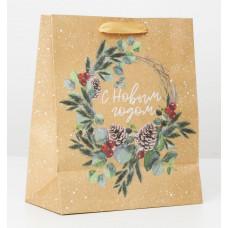 Пакет крафтовый вертикальный «Новогодний венок», ML 23 × 27 × 11.5 см