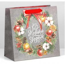 Пакет крафтовый квадратный «С Новым Годом», 22 × 22 × 11см