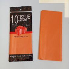 Бумага упаковочная тишью, оранжевый №123, 50 х 66 см, 10 листов