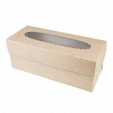 Коробка для 3 капкейков, 25х10х10 см, двусторонняя, с окном