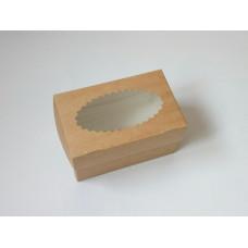 Коробка для 2 капкейков, 10х16х10 см, двусторонняя, с окном
