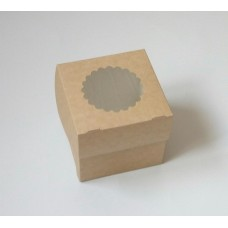 Коробка для 1 капкейка, 10х10х10 см, двусторонняя, с окном