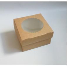 Коробка для 4 капкейков, 16х16х10 см, двусторонняя, с окном